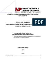 Clima Organizacional en Las Empresas Turísticas en La Ciudad de Arequipa, 2016