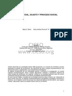 16. Clase Social, Sujeto y Proceso Social. Beba C. Balvé