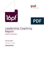 PAN 16PF Leadership Coaching Report Sample