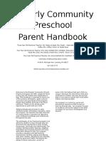 preschool parent handbook august 2016