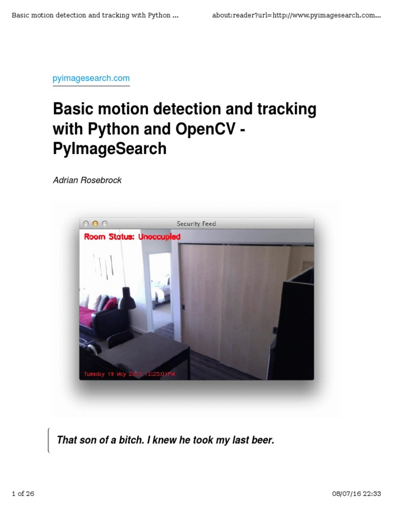 Basic Motion Detection | Areas Of Computer Science | Imaging