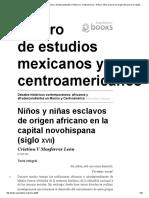 Niños y Niñas Esclavos de Origen Africano en La Capital Novohispana (Siglo Xvii)