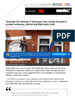 'Assange Kill Attempt'_ Unknown Man Climbs Ecuador's London Embassy, Sheltering WikiLeaks Chief — RT News
