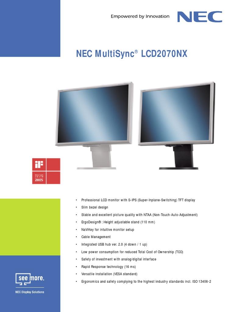 Nec Multisync Lcd2070nx Computer Monitor Display Technology Lg Lcd Flatron L1718s Service Manual