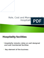 Role, Cost and Mangement of Hospitality Facilities