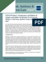 EDEKA.kaiser's Tengelmann-prohibition of Merger Overridden by Minister for Economic Affairs in Germany