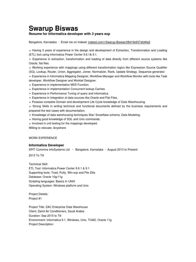 Swarup Biswas | Data Warehouse | Oracle Database