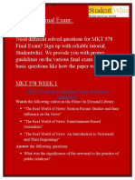MKT 578 Questions & Answers - MKT 578 Final Exam - Studentwhiz