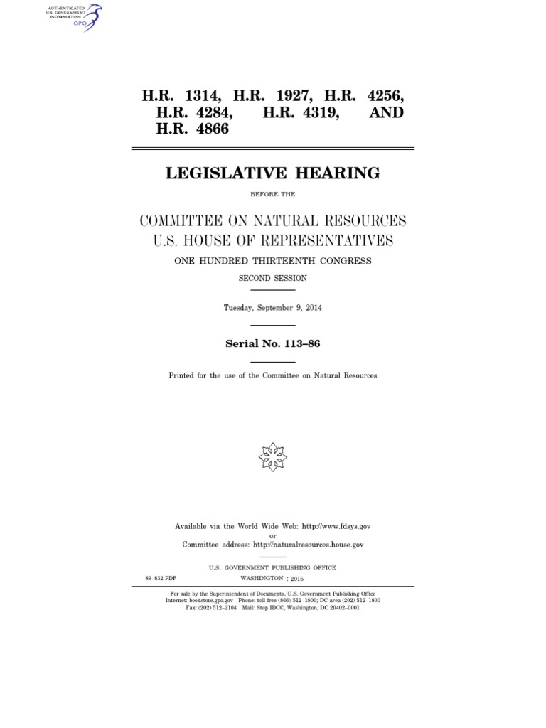 house hearing, 113th congress - h.r. 1314, h.r. 1927, h.r. 4256