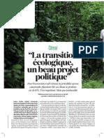 La transition écologique, un beau projet politique