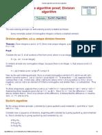 Euclid's Algorithm Proof; Division Algorithm