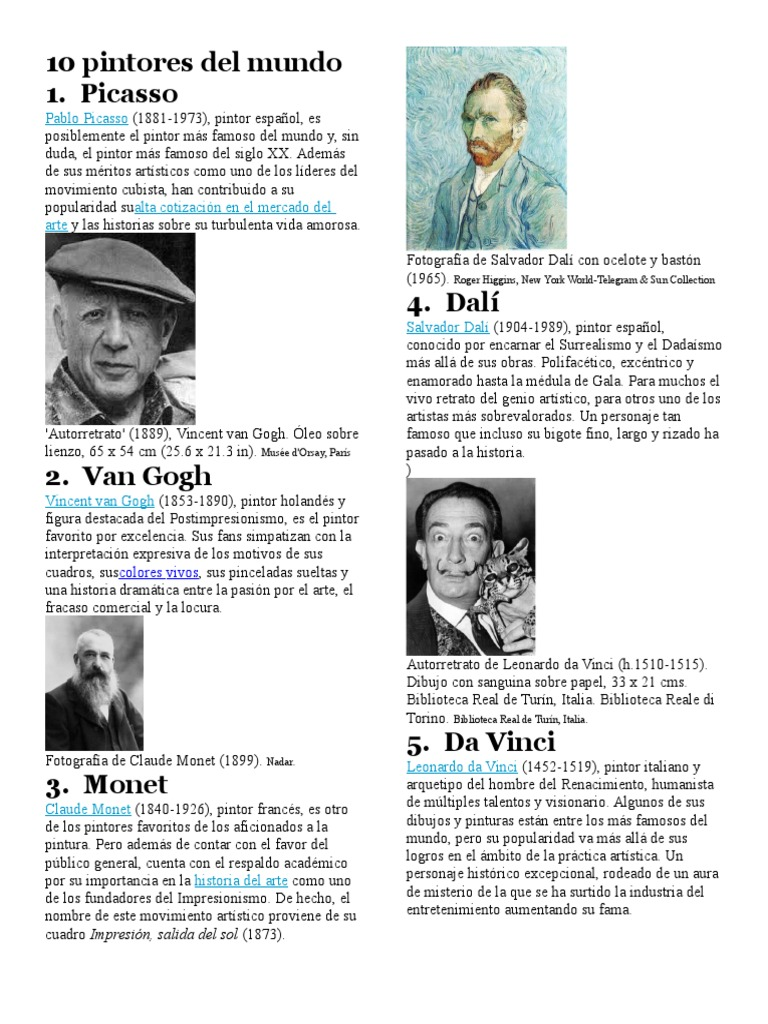 10 pintores del mundodocx - Nombres De Pintores Famosos