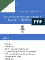 Processo de Sistematização e Análise de Informação
