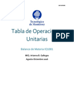 Tabla de Operaciones Unitarias