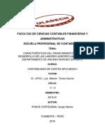 CARACTERÍSTICAS DEL FINANCIAMIENTO EN EL DESARROLLO DE LAS LABORES AGROPECUARIAS EN EL DEPARTAMENTO DE ANCASH PERIODO 2014-2015