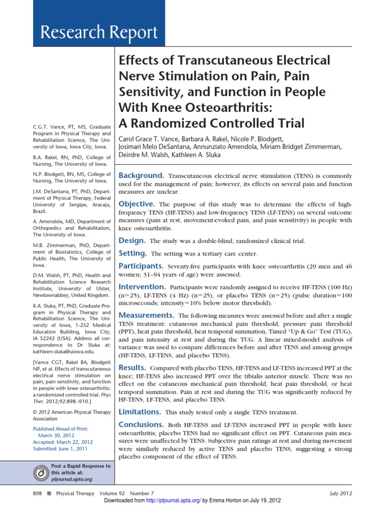 effects of transcutaneous electrical nerve stimulation on pain pain