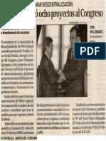 La República 17-09-08 AMPE presentó ocho proyectos al Congreso