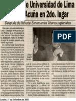 Satélite 27-09-08 Encuesta de Universidad de Lima ubica a Acuña en 2do. lugar