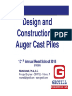 Design and Construction of Auger Cast Piles