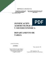 Zonificación Agroecológica y Socioeconómica Dpto. Tarija