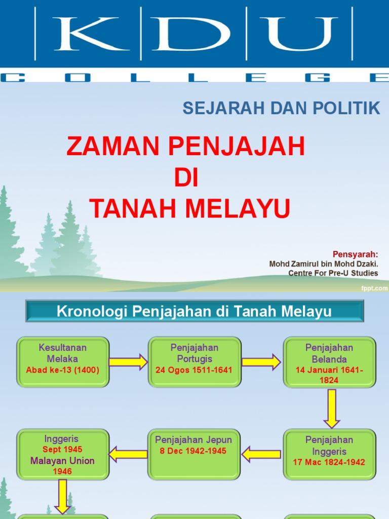 Kronologi Penjajahan Di Tanah Melayu