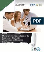 Master en Internacionalización de Empresas + Titulación Universitaria en Mercados Exteriores