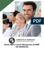 Master MBA in Sports Management (CARNÉ DE FEDERADO)