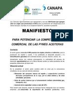 Manifiesto para potenciar la competitividad comercial de las PyMES aceiteras
