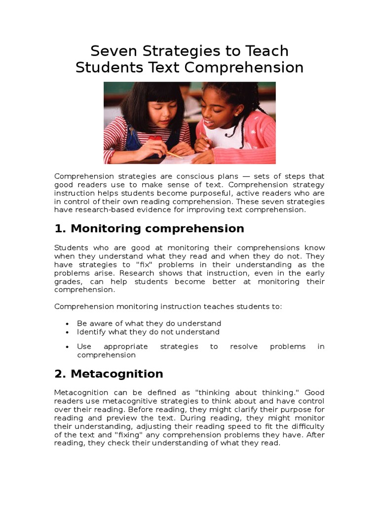Strategies To Teach Students Text Comprehension Reading