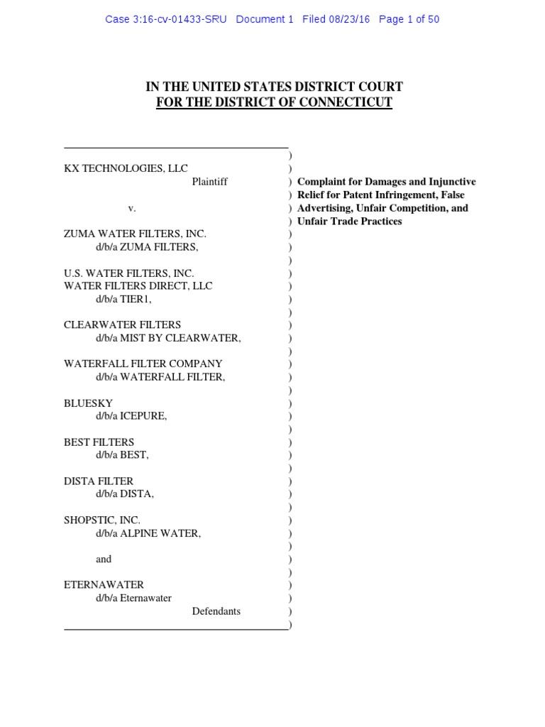 KX Tech v  Zuma Water Filters - Complaint | Injunction | Patent
