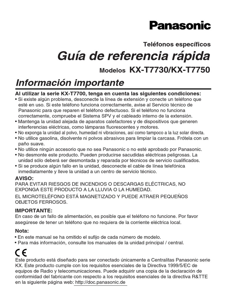 manual conmutador panasonic kx t7730