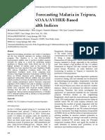 Modeling and Forecasting Malaria in Tripura, INDIA using NOAA/AVHRR-Based Vegetation Health Indices