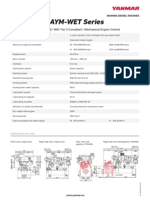 Yanmar 6AYM WET Datasheet | Diesel Engine | Engines