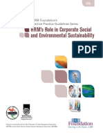 SHRM - HRM Role in Corporate Social & Environmental Sustainability