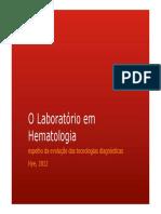 O Laboratório Em Hematologia