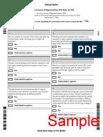 Sample Ballot for the House of Representatives 2016 State Fair