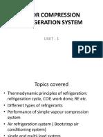 Introduction to Vapor compression refrigeration system