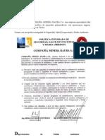 Politica Integrada de Seguridad Salud Ocupacional y Medio Ambiente - CIA Minera-Peru