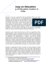 An Essay on Education - Analysis of Education System in India. What we need to modify?