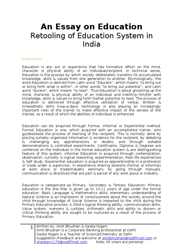 essays on change in education system Free essay: going to school and getting a great education is important for a successful future in today's world years ago, many children did not go to.