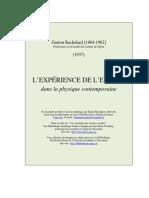 G. Bachelard, L'Expérience de l'Espace, 1937