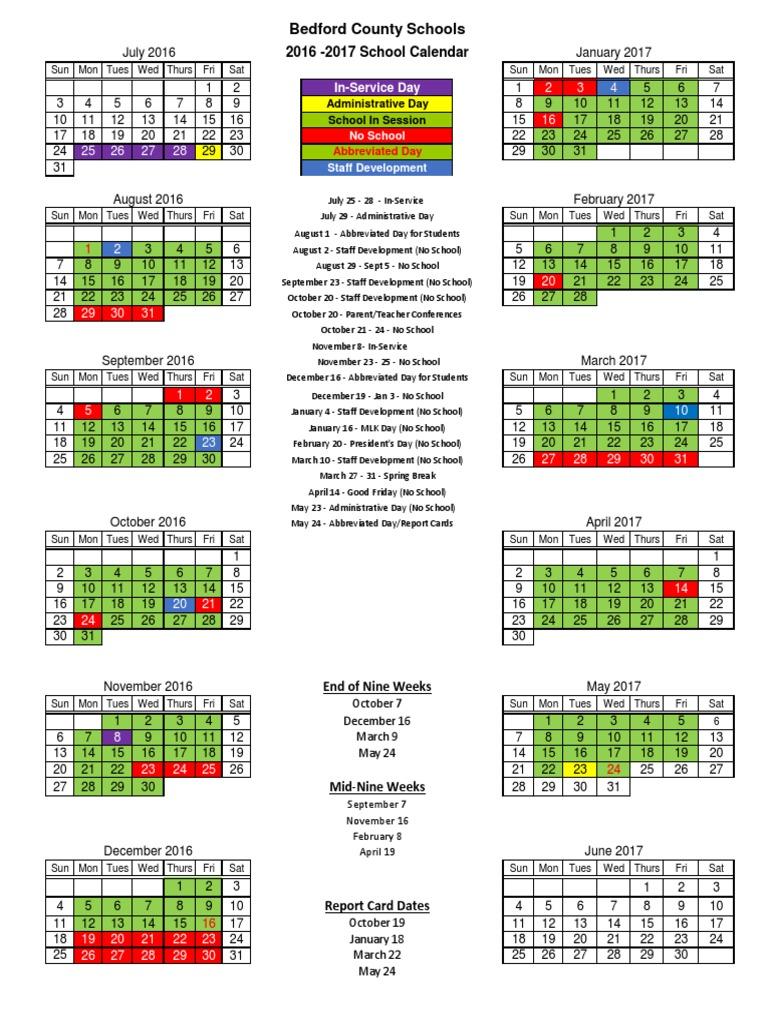 School Calendar 2016 17 : School calendar