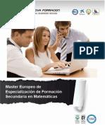 Master Europeo de Especialización de Formación Secundaria en Matemáticas