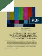 Valoraciòn de La Validez y de La Eficacia de La Prueba Aspectos Epistemològicos y Filosòfico-polìticos