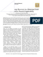 Material and Energy Recovery in a Municipal Solid Waste System