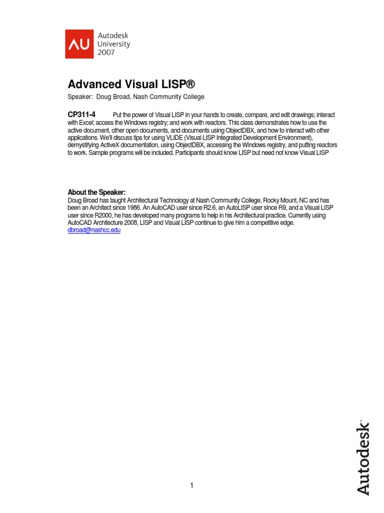 CP311-4 Visual Lisp | Microsoft Excel | Areas Of Computer
