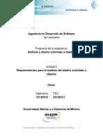 Unidad 2 Requerimientos Para El Analisis Del Dis Orientado a Objetos