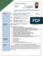 Sample Resume MechatronicsEngineer UET Lahore
