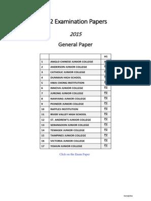 2015 JC2 GP H1 prelim papers | Nostalgia | Science