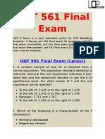 QNT 561  | QNT 561 Final Exam  | UOP E Tutors